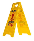 "Slow Children at Play Yard and Driveway Safety Sign (Double-Sided, Yellow) - ""Slow, Children at Play"""