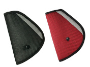 Seatbelt Adjuster, HONTECH® 2 Packs Seat Belt Safety Covers for Kids Red +Black.