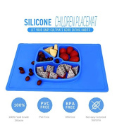LAIMALA One-piece Silicone Placemat Food Tray for Baby Toddlers, Non-slip with 5 Built-in Dividers On Plate, Blue