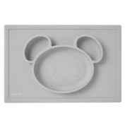 ALI+OLI Silicone Suction Placemat for Baby and Toddlers with Bear Shape Food Dividers - Reusable & Dishwasher Safe - Grey