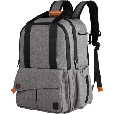 Ferlin Multi-function Baby Nappy Nappy Bags Backpack with Changing Pad, Fashion Design with Anti-Water Material for Both Mom & Dad (Grey-0723)