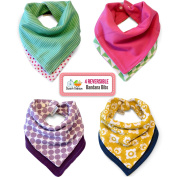 Reversible Bandana Bibs by Rench Babies - 4-Pack Absorbent Cotton, 8 Unique Styles