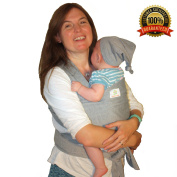 Soft Baby Sling Carrier + Baby Hat + Pouch   Newborn Baby Sling   Baby Wrap   Neutral Grey