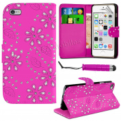 coverme571@Diamond Leather Bling Sparkly Gem Flip Wallet Case Cover For iPhone 6/6s