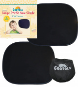 Universal Large Car Sun Shades | New Darker Film Provides Maximum UV Protection for your Baby | Covers Side Rear Car Window | 2 x Static Cling Car Sun Shade | Cootols