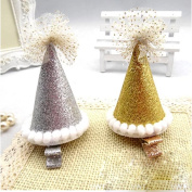2 pieces Kids Children Baby birthday Party Hat Clip Hair Band Hoop Prop