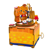Happy Cherry DIY Wooden Music Box 3D Jigsaw Puzzle Assembly Woodcraft Model Kit Toys Holiday Gift