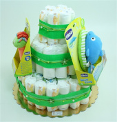 Three-Tiered Nappy Cake Dolphin Bath