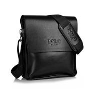 Messenger Bag Men's Black Leather Shoulder Bag + Adjustable Black Canvas Strap Videng Polo