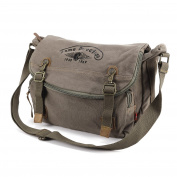 Mens Vintage Canvas Satchel Shoulder Bag School Bag Messenger Military Style