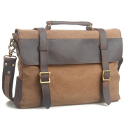Estarer Canvas Leather Laptop School Messenger Bag Briefcase Brown