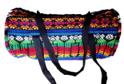 Fair Trade Rainbow Hippy Multicoloured Canvas Patchwork Padded Barrel Travel Festival Bag M41
