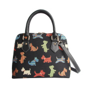 Signare Womens Fashion Canvas Tapestry Convertible Shoulder Handbag in Scottie Design