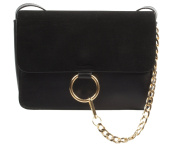 Faux Leather & Suede Shoulder / Messenger Bag With Gold Chain & Gold Ring Detail