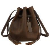 Yaluxe Small Real Leather Women's Cross Body Drawstring Bags-Coffee Brown