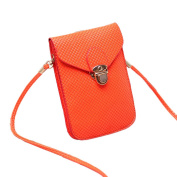 Mini Pouch with Shoulder Strap for Ladies - PU Phone Pouch, Coin Purse, small shoulder bag Cross Body Bag - Orange