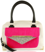 Betsey Johnson Envelope Pocket Satchel Shoulder Bag - Fuschia