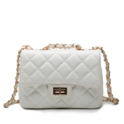 Qearly Quilted Design Leather Tote Shoulder Bag Purse Mini Crossbody Bag Handbags With Chain Strap-White