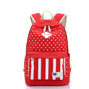 Folowish - Canvas Backpack Shool Bag Rucksack Bookbags Polka Dot Striped Bag for Women Girls School/College/Outdoor/Travelling/Trekking/Hiking