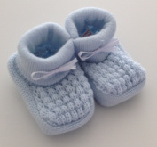 Babies Knitted Booties Baby Newborn Bootees White Pink Cream or Blue