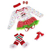 Kingko® Christmas Outfits Baby Girl Party Outfits Tutu Dress Newborn Jumpsuit Bodysuit Romper Clothing Sets 4pcs