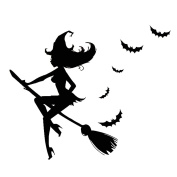 TANG imp Halloween Witch PVC Decal Decor Removable Home Decor Wall Stickers Window Wall Paper