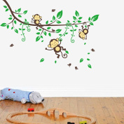 Wallpark Cartoon Naughty Monkeys Playing on Green Leaves Tree Branch Removable Wall Sticker Decal, Children Kids Home Room Nursery DIY Decorative Adhesive Art Wall Mural