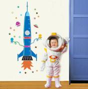 Wallpark Cartoon Blue Space Rocket Stars Removable Height Wall Sticker Decal, Children Kids Home Room Nursery DIY Decorative Adhesive Art Wall Mural
