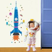 Wallpark Cartoon Blue Space Rocket Stars Removable Height Wall Sticker Decal, Children Kids Home Room Nursery DIY Decorative Adhesive Art Wall Mural