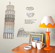 "Wallpark Ancient Artistic ""Leaning Tower of Pisa"" Removable Wall Sticker Decal, Living Room Bedroom Home Decoration Adhesive DIY Art Wall Mural"