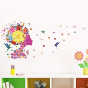 Wallpark Magic Pink Flower Fairy Girl with Butterflies Birds Removable Wall Sticker Decal, Living Room Bedroom Home Decoration Adhesive DIY Art Wall Mural