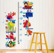 Wallpark Cartoon Underwater Sea World - Octopus, Crab, Fish, Boat - Height Sticker, Growth Height Chart Measuring Removable Wall Decal, Children Kids Home Room Nursery DIY Decorative Adhesive Art Wall Mural