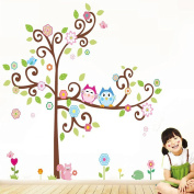 Wallpark Cartoon Lovely Owl Couple with Cute Birds on Colourful Flower Tree Removable Wall Sticker Decal, Children Kids Home Room Nursery DIY Decorative Adhesive Art Wall Mural