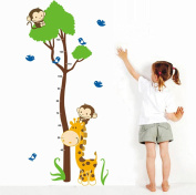 Wallpark Cartoon Cute Giraffe Birds & Monkeys Climbing Tree Height Sticker, Growth Height Chart Measuring Removable Wall Decal, Children Kids Home Room Nursery DIY Decorative Adhesive Art Wall Mural