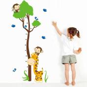 Wallpark Cartoon Cute Giraffe Birds & Monkeys Climbing Tree Height Sticker, Growth Height Chart Measuring Removable Wall Decal, Children Kids Home Room Nursery DIY Decorative Adhesive Art Wall Mural
