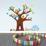 Wallpark Cartoon Rabbit's Big Brown Tree House with 3 Cute Owls & Birds Removable Wall Sticker Decal, Children Kids Home Room Nursery DIY Decorative Adhesive Art Wall Mural
