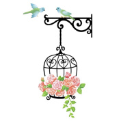 Winhappyhome Birdcage Flower Vines Wall Art Stickers for Bedroom Living Room Tv Background Removable Decor Mural Decals