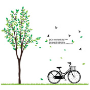 Winhappyhome Casual Style Bicycle Green Tree Wall Art Stickers for Bedroom Living Room Corridor Backdrop Removable Decor Decals