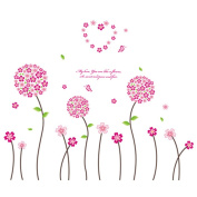 Winhappyhome Pink Flower Balls Wall Art Stickers for Nursery Bedroom Living Room Corridor Backdrop Removable Decor Decals