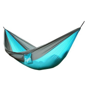 Camping Hammock -230kg- Portable Parachute Nylon Fabric Travel Hammock Outdoor Camping Hammock Hanging Kit Set For Backpacking, Travel, Beach, Yard - With Free Hammock Straps & Steel Carabiners