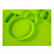 Signstek Portable All-In-One Waterproof Smile Panda Silicone Divided Suction Placemat for Children/Toddler, Green