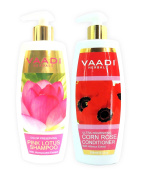 Vaadi Herbals Lotus With Honeysuckle Shampoo And Corn Rose Conditioner- Colour Preserving Shampoo- All Natural- Paraben Free- Sulphate Free- Scalp Therapy- Moisture Therapy