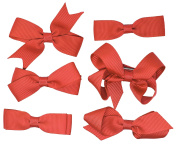 6 Set School Hair Clip Red Girls Kids Small Bows Grosgrain Ribbon Uniform ...