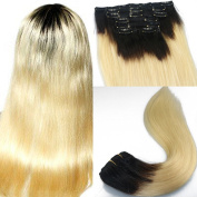 170g/set Thick Ends Two Tones 1B/613 Clip in Human Hair Extensions Dip-dye Ombre Blonde with Dark Root Silk Straight