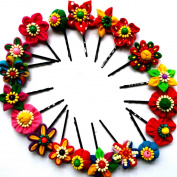 NK'store The new fashion Ethnic handmade cloth flower head flower Fabric metal hair clip hairpin barrette hair accessories head ornaments mix colour set of 10 pcs.