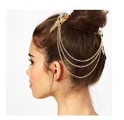 OverDose Retro Gold Gem Diamond Angel Feather Tassels Side Clip Hair Band Hairpin