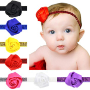 Saingace® 7PC Fashion Children Favourite Rose Flower Shaped Baby Hairband Hair Accessories