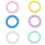 Lalang Spiral 6 Colours Hair Bobbles Bands Cute Elastic Phone Wire Line Hair Ring Band Bracelet Rope Ponytail Holder