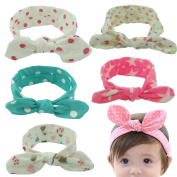 Hxhome Baby Children Turban Headband Fashion Bunny Ear Girls Headwear Bow Elastic Knot Hairband Headwrap Headbands