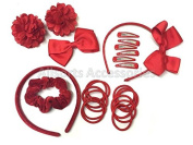 24 Piece Red Hair School Set Kids School Hair Bobbles Clips Scrunchie